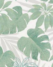 Marburg Avalon 31604 Natur botanikus Monstera és Schefflera szürkésfehér szürke zöld ezüst fémes hatás tapéta