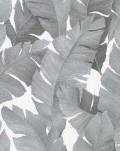 Marburg Avalon 31624 Natur trópusi botanikus banánlevelek fehér ezüst fémes hatás tapéta