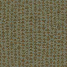 Marburg Memento 32021 EXPLORE SURFACES Geometrikus változó háromszögek zöld szürkés zöld rézszín applikált csillogó szemcsék tapéta