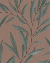 Marburg Modernista 32205 Natur levélmotívom vörösesbarna barna zöld fénylő mintafelület tapéta