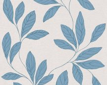 As-Creation Amory 32421-4 Natur levélmotívum halvány krémszürke kék fénylő mintarajzolat tapéta
