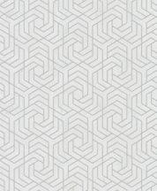 Marburg City Glam/Urban Spaces 32607 Grafikus betonhatású háttéren labirintus minta világosszürke ezüst fémes hatás tapéta