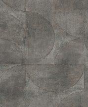 Marburg Vintage Deluxe 32821 Vintage Geometrikus Grafikus beton háttéren óriás körök körívek szürke szürkésbarna zöldeskék ezüst rézszín tapéta