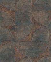 Marburg Vintage Deluxe 32822 Vintage Geometrikus Grafikus beton háttéren óriás körök körívek kék barna narancs/terra rézszín tapéta