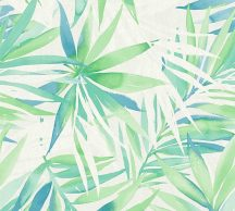 As-Creation Deigndschungel 34125-1 Natur trópusi pálmalevelek fehér kék zöld tapéta