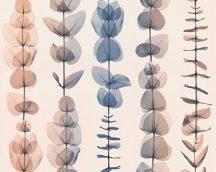 """As-Creation X-Ray 34246-5 Natur """"átvilágított"""" levelek designminta krém kék barna fémes csillogó hatás tapéta"""