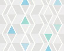 As-Creation Happy Spring 34302-1 grafikus fehér kék szürke zöld tapéta