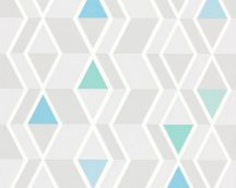As-Creation Happy Spring 34302-1 Geometrikus grafikus fehér kék szürke zöld tapéta