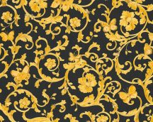 As-Creation Versace 3, 34325-2  indaminta pillangókkal fekete aranysárga tapéta