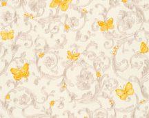 As-Creation Versace 3, 34325-3  indaminta pillangókkal krémfehér  bézs aranysárga tapéta