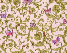 As-Creation Versace 3, 34325-4  indaminta pillangókkal rózsaszín zöldarany  lila pink tapéta