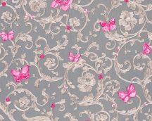 As-Creation Versace 3, 34325-5  indaminta pillangókkal szürke bézs pink tapéta