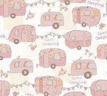 Gyerekszobai camping lakókocsik krémfehér bézs rózsaszín árnyalatok tapéta