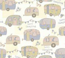 Gyerekszobai camping lakókocsik krémfehér pasztel rózsaszín kék zöld tapéta