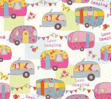 As-Creation  Boys & Girls 6, 34345-3 Gyerekszobai camping lakókocsik krémfehér szines tapéta
