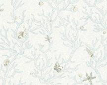 As-Creation Versace 3, 34496-3  kagylók korallok kék szürke fehérr tapéta