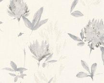 As-Creation Designdschungel 2, 34498-1 virágos krém szürke fehér fémes csillogó hatás tapéta