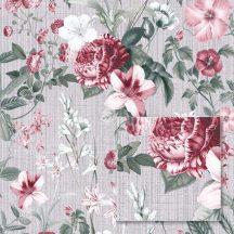 Sintra Marbella 348031  LUCIA Virágos minta szürke zöld rózsaszín fehér bordó tapéta