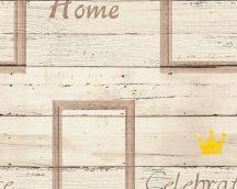As-Creation Cote d'Azur 35341-2  deszkaminta felirattal krém  barna sárga  tapéta