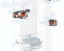 As-Creation Little Stars 35813-1 Tüzoltó és helikopter fehér ezüstszürke piros fekete tapéta