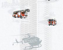 As-Creation Little Stars 35813-2  Tüzoltó és helikopter világos szürke piros fekete tapéta