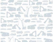 As-Creation Little Stars 35815-2  teherautók munkagépek fehér szürke tapéta