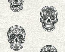 Boys and Girls 6/Club Tropicana 35817-1 Pop Art díszített halálfej krémfehér fekete ezüst tapéta