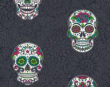 Boys and Girls 6/Club Tropicana 35817-3  Pop Art díszített halálfej fekete fehér neonzöld pink tapét