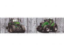 As-Creation Little Stars 35843-1  faminta alapon traktorok szürke zöld fekete bordűr