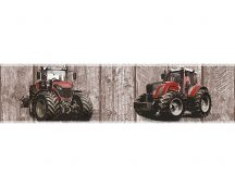 As-Creation Little Stars 35843-2  faminta alapon traktorok barna piros fekete bordűr