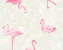 As-Creation Club Tropicana 35980-1 flamingók  fehér világoszöld rózsaszín tapéta