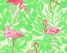 As-Creation Club Tropicana 35980-2  flamingók  fehér neonzöld világoszöld  pink tapéta