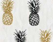 As-Creation Club Tropicana 35997-1 ananászok fehér ezüst fekete arany tapéta