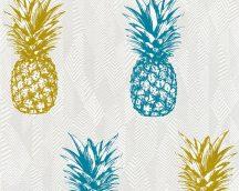 As-Creation Club Tropicana 35997-2  ananászok fehér ezüst aranysárga kék tapéta