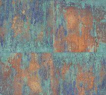 As-Creation Neue Bude 2.0, 36118-1 patinás acéllemez rozsdabarna türkiz bronz rézszín kék tapéta