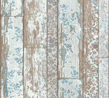 As-Creation Neue Bude 2.0, 36119-1  virággal futtatott fapalánk bézs barna fehér kék tapéta