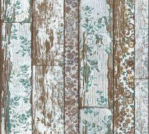 As-Creation Neue Bude 2.0, 36119-3 virággal futtatott fapalánk türkiz barna fehér zöld tapéta