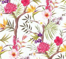 As-Creation Neue Bude 2.0, 36202-1 trópusi virágok fehér szines tapéta