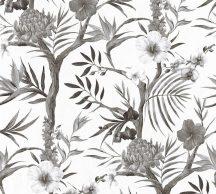 As-Creation Neue Bude 2.0, 36202-2  trópusi virágok fehér szürke fekete  tapéta