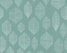 As-Creation Colibri 36209-4  natur grafikus stilizált levelek zöld fehér tapéta
