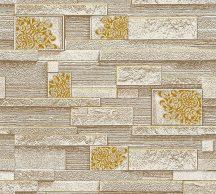 As-Creation 36267-1 Natur díszes kőmintázat krém barna sárga arany tapéta