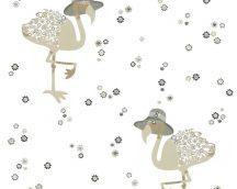 COZZ 36291-3 bézs, szürke, fekete flamingók tapéta