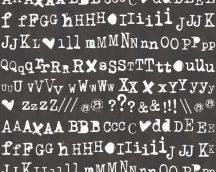 As-Creation Cozz 36298-1 grafikus betűk fekete fehér tapéta