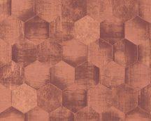 As-Creation Materials 36330-5 grafikus hatszögek barna rézszín fémes hatású tapéta