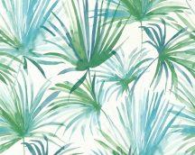 As-Creation Colibri 36624-2 natur trópusi pálmalevelek fehér zöld kék tapéta