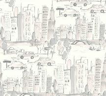 As-Creation  Boys & Girls 6, 36753-3  Gyerekszobai grafikus város házak fehér szürke ezüst tapéta