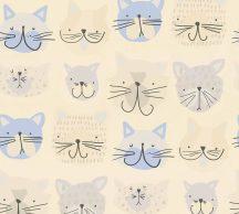 As-Creation  Boys & Girls 6, 36754-1 Gyerekszobai grafikus cicafejek krém kék szürke tapéta