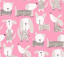 Gyerekszobai grafikus kutyusok pink fehér bézs szürke ezüst fekete tapéta