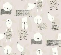 Gyerekszobai grafikus kutyusok bézs szürke fehér ezüst fekete tapéta