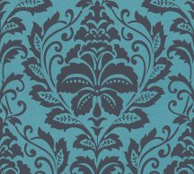 As-Creation Attractive 36910-5 Klasszikus Barokk díszítőminta kékfekete fémes hatás tapéta